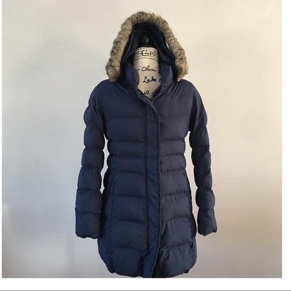Uniqlo Other - Uniqlo mid length navy blue puffer coat jacket